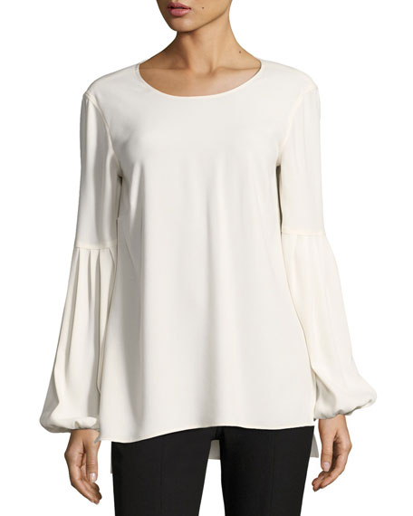 Harriet Blouson-Sleeve Round-Neck Crepe Top