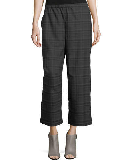 Heathered Stretch Flannel Plaid Cropped Wide-Leg Pants