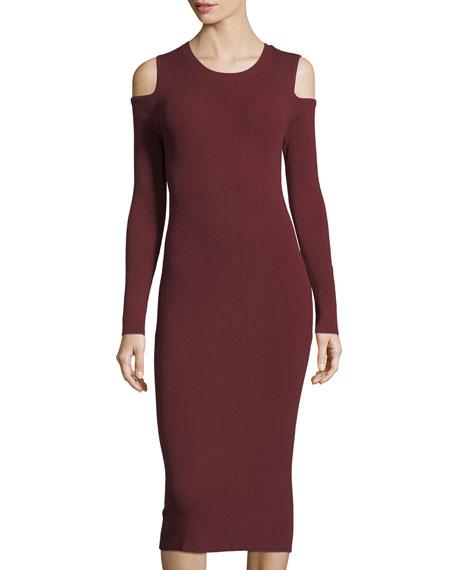 Cold-Shoulder Knit Midi Dress