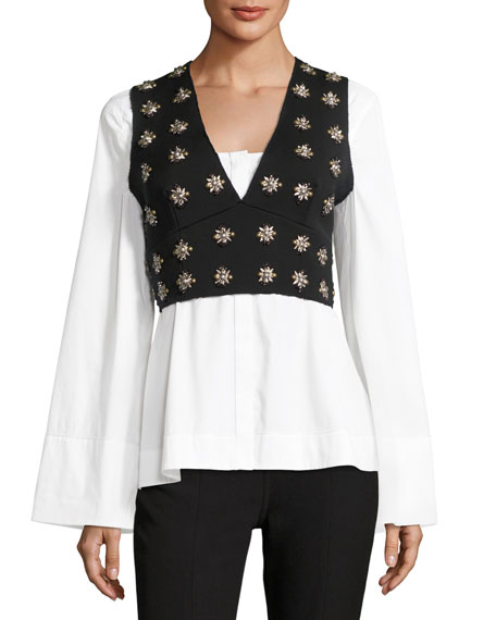 Elizabeth and James Leola Embellished Cross-Back Sleeveless Crop