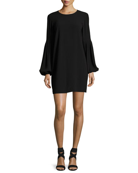 Claudia Jewel-Neck Blouson-Sleeve Crepe Mini Dress