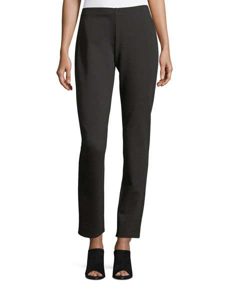 Eileen Fisher Melange Stretch-Ponte Slim Pants