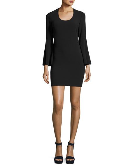 Elizabeth and James Philippa Scoop-Neck Bell-Sleeve Ponte Sheath