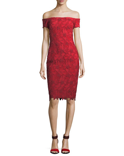 Bethel Off-the-Shoulder Embroidered Lace Cocktail Sheath Dress