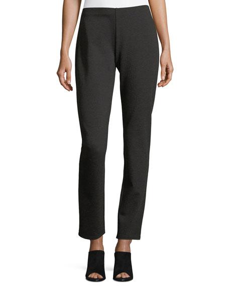 Eileen Fisher Melange Stretch-Ponte Slim Pants, Petite