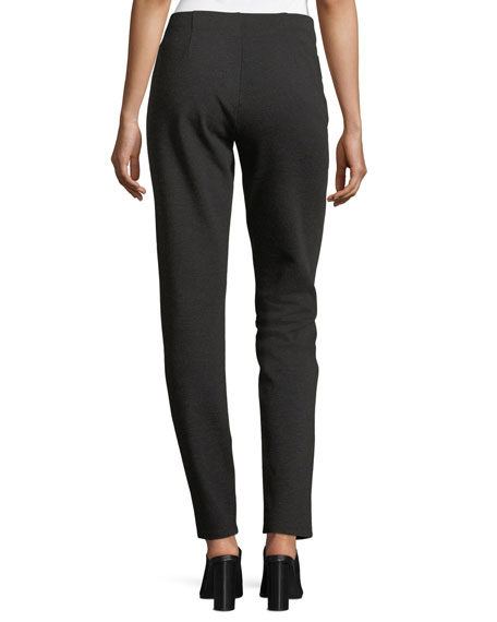 Melange Stretch-Ponte Slim Pants, Plus Size