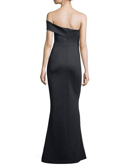 neoprene gown one shoulder