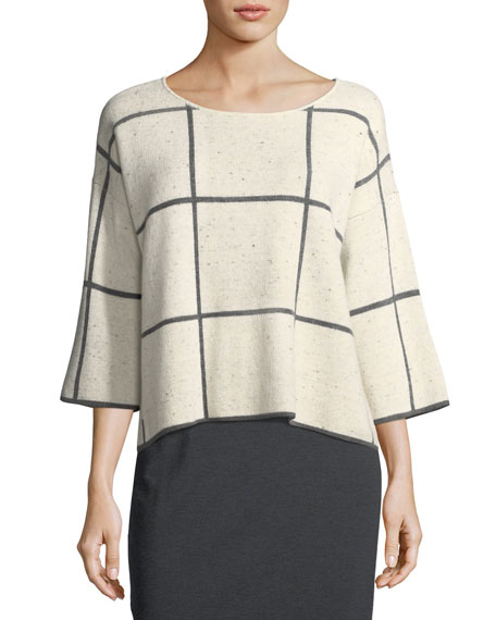 Eileen Fisher 3/4-Sleeve Peppered Windowpane Box Top and