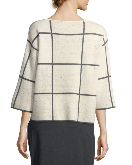 3/4-Sleeve Peppered Windowpane Box Top, Petite
