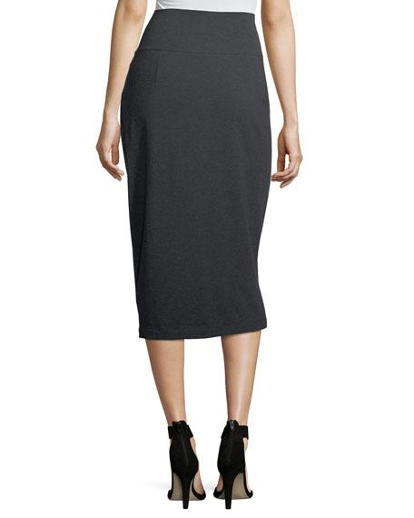 Cozy Stretch-Jersey Midi Pencil Skirt, Petite