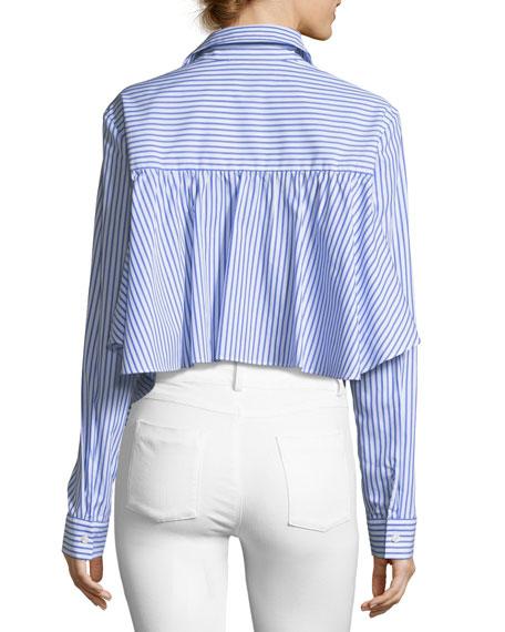 Gretchen Striped Asymmetric Poplin Shirt