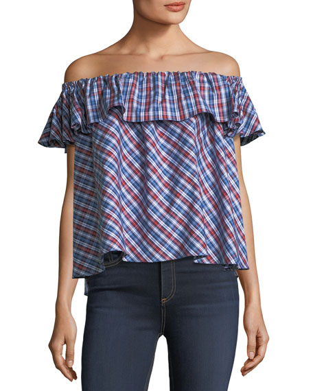 Roxie Off-the-Shoulder Plaid Top