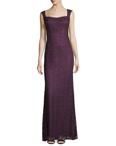 Square-Neck Sleeveless Embellished Lace Evening Gown