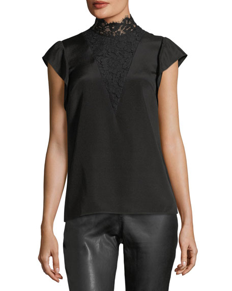 St. John Collection Lace-Yoke Crepe de Chine Top