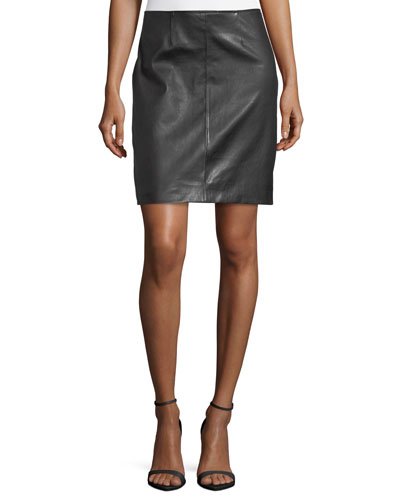 Stretch Napa Leather Pencil Skirt