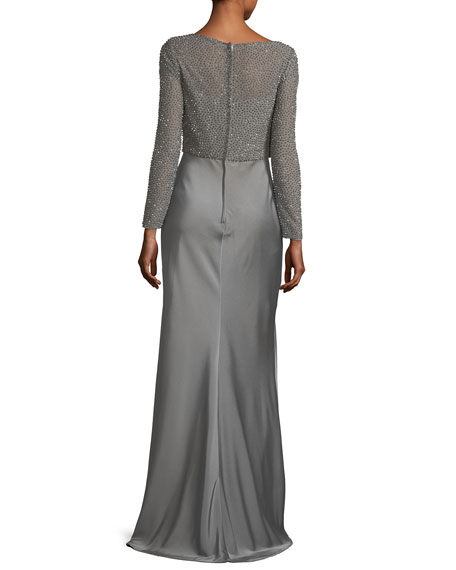 Long-Sleeve Beaded Mesh Column Evening Gown