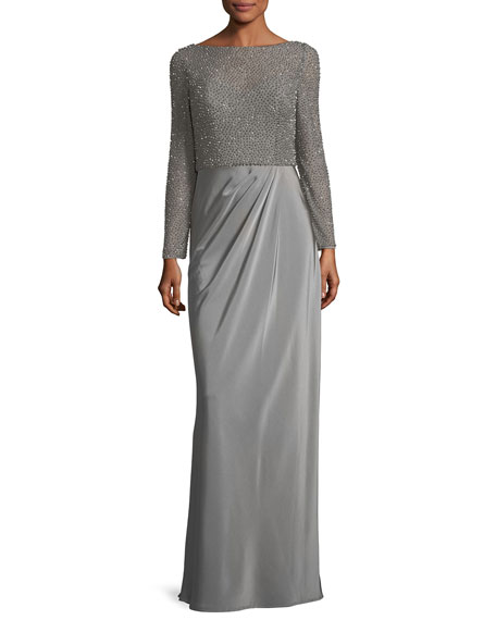 La Femme Long-Sleeve Beaded Mesh Column Evening Gown