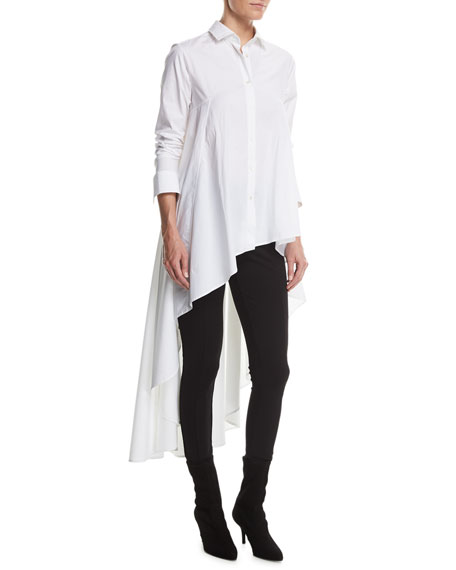 Super Button-Front Asymmetric Cotton Shirt, White