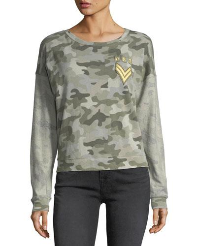Kelli Crewneck Camouflage Pullover Sweatshirt