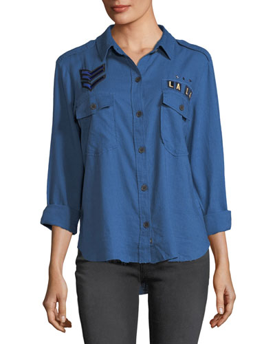 Banks Button-Front Indigo Shirt w/ Raw-Edges