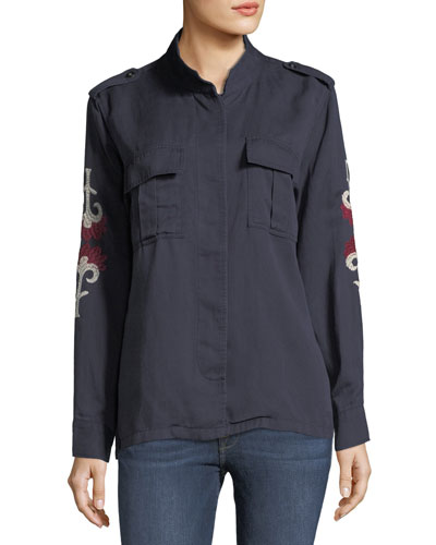 Elliot Indigo Floral-Medallion Embroidery Shirt Jacket