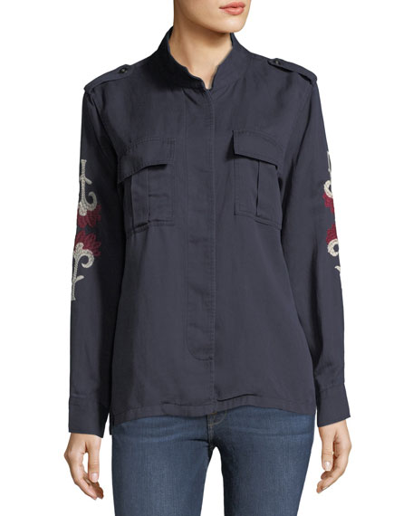 Elliot Indigo Floral-Medallion Embroidery Shirt Jacket