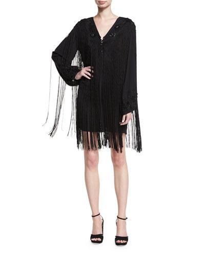 V-Neck Lace-Up Fringe Cocktail Dress