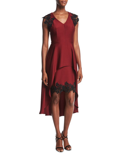 High-Low Peplum Cocktail Dress w/Lace Trim