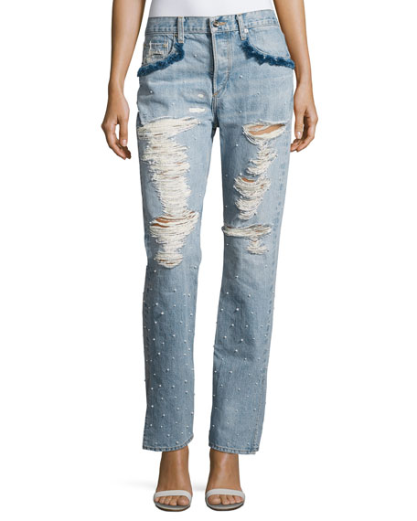 Jonathan Simkhai DISTRESSED BEADED JEAN