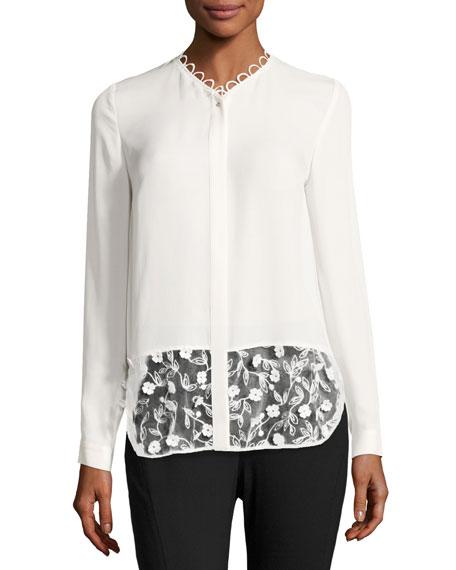 Elie Tahari Constance Long-Sleeve Floral-Applique Silk Blouse