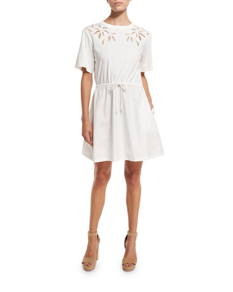 See by Chloe Short-Sleeve Embroidered Poplin Dress, Off