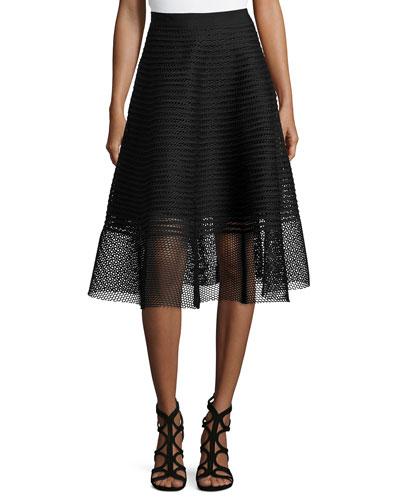 Mesh Striped Midi Skirt