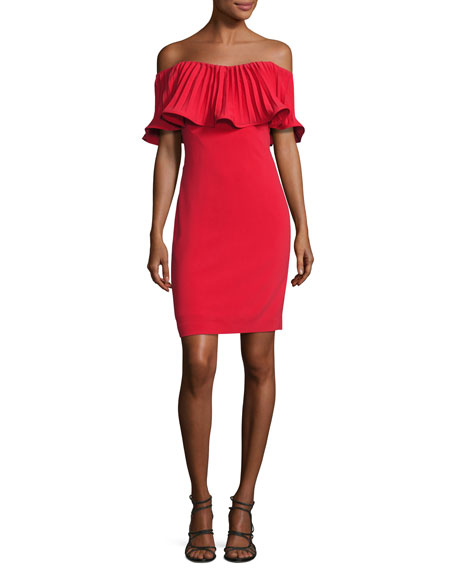 Badgley Mischka Off-the-Shoulder Pleated Stretch Crepe Cocktail