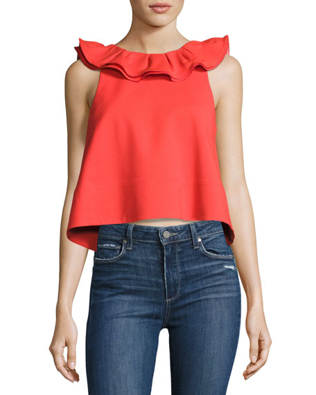 Tibi Agathe Sleeveless Ruffle Crop Top