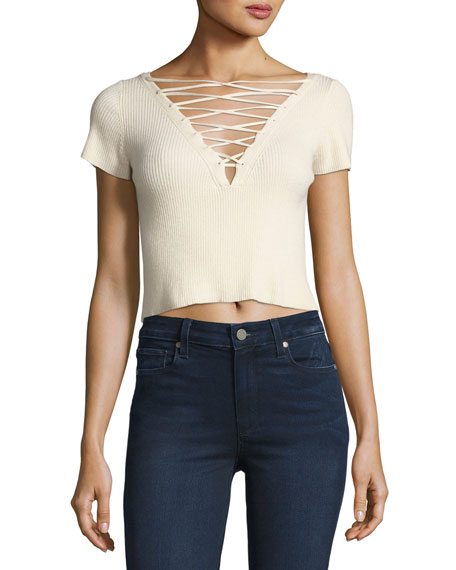 T by Alexander Wang Short-Sleeve Lace-Up Crop T-Shirt