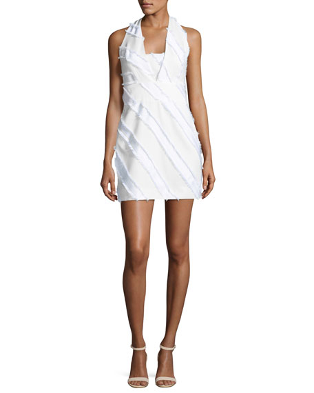 Milly Diagonal-Striped Halter Minidress