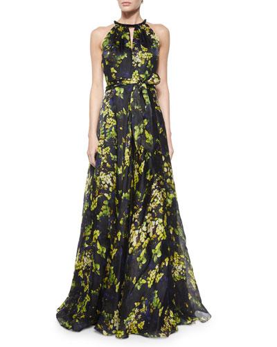 Sleeveless Printed Flowy Gown, Pistachio