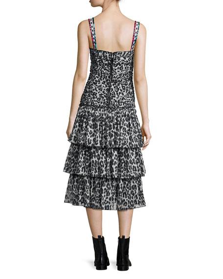 Tiered Leopard-Print Midi Dress