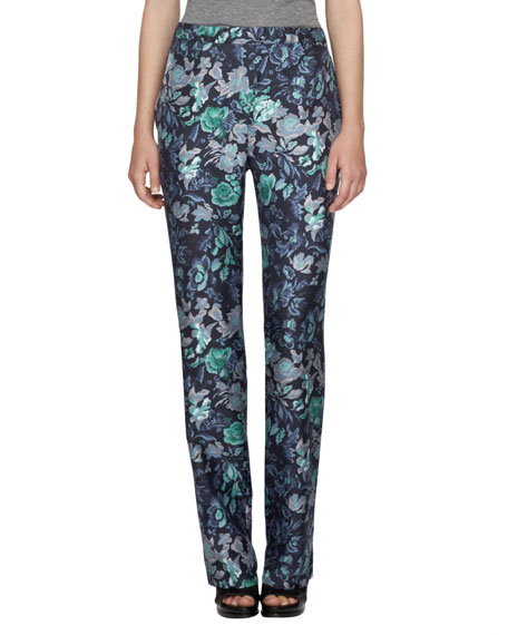 Floral-Print Pajama Trousers, Navy