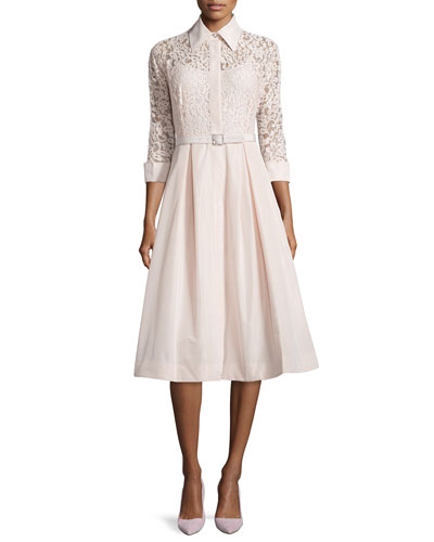 Lace Full-Skirt Belted Cocktail Shirtdress, Blush