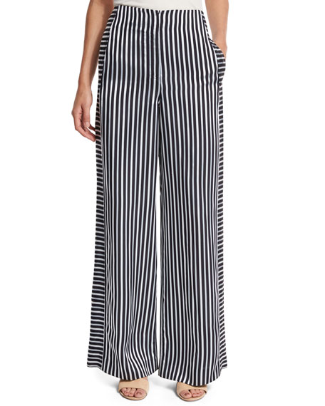 Jones High-Rise Striped Wide-Leg Trousers