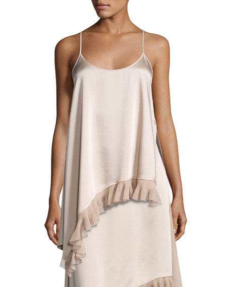 Elizabeth and James Angela Sleeveless Asymmetric Satin Top