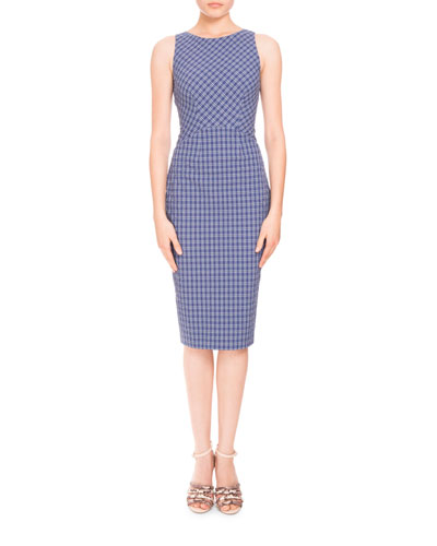 Sleeveless Seersucker Cross-Back Dress