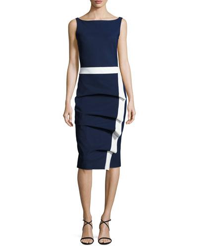 Alexandra Sleeveless Draped Sheath Dress, Blue
