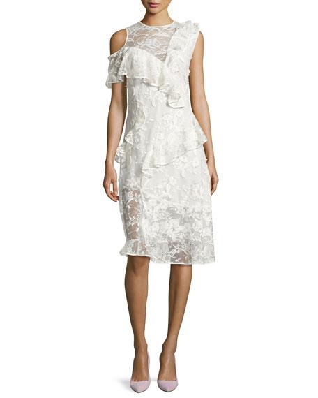 Pointe Asymmetric Lace Cocktail Dress