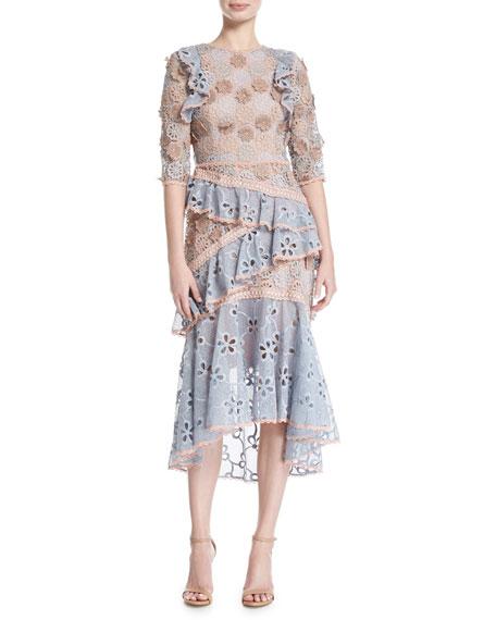 Alexis Mikaela Lace Tiered Midi Cocktail Dress