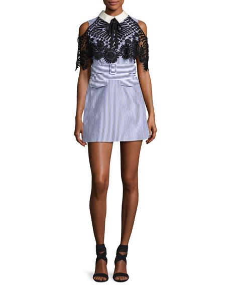 Self-Portrait Striped Shirting Sleeveless Mini Dress with Lace