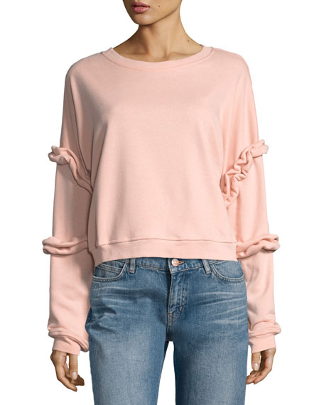 Ruffled-Sleeve Sweatshirt