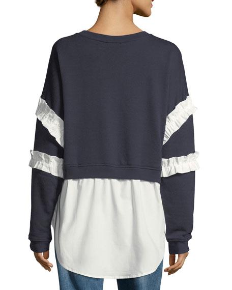 Ruffle-Trim Twofer Sweatshirt