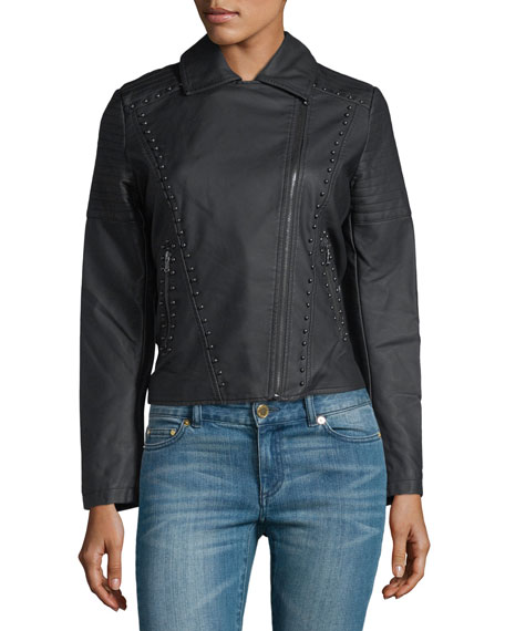 Studded-Trim Faux-Leather Moto Jacket